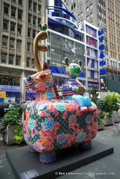 A Fancy Animal Carnival eleven large-scale, colorful sculptures  created by the Taiwanese artist, Hung Yin