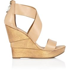 Diane von Furstenberg Opal Wood Heel Leather Sandal found on Polyvore