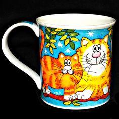 Dunoon England Bone China Night Cats Artist Jane Brookshaw Coffee Mug Cup 10 oz #Dunoon