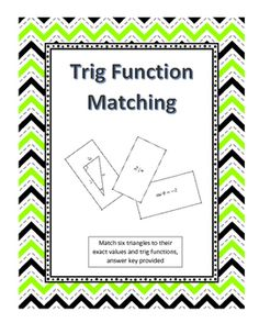 Trigonometric Function Matching is an interactive and hands on way for students to practice finding exact values of trig functions. This activity has the student match each triangle to its trig function and exact value. This activity can be used in a variety of ways including as an in class pairs activity, homework assignment, or individual assessment of student understanding.