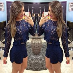 2 piece women sets 2015 lace long sleeve sexy hollow out sets clothes crop top and shorts Set With ruffles vestidos good quality Dressy Casual Outfits, Dope Outfits, Fashion Outfits, Crop Top Und Shorts, Crop Tops, Vestido Casual, Girls Night Out, Fashion Killa, Beautiful Gowns