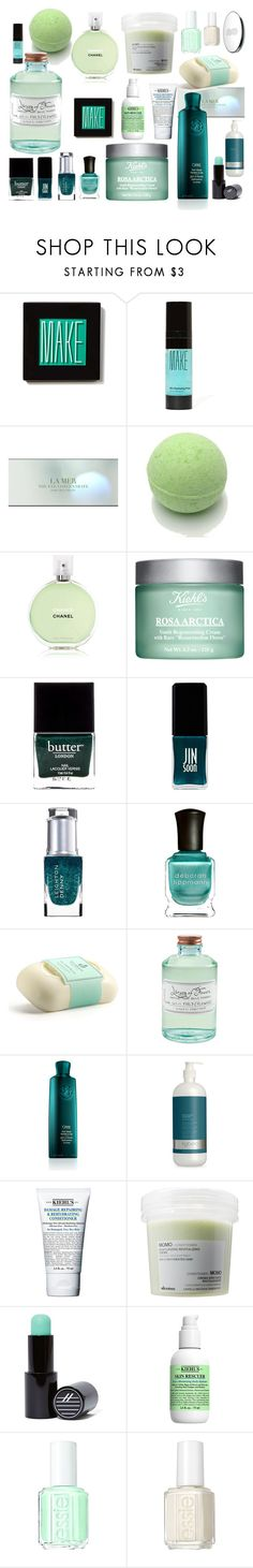 """green& blue"" by lushxoxo ❤ liked on Polyvore featuring beauty, Make, Chanel, Kiehl's, Butter London, JINsoon, Leighton Denny, Deborah Lippmann, Carthusia and Library of Flowers"