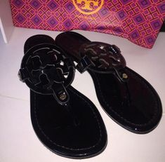c68de3049 New Tory Burch Miller Sandals Black Patent Leather Shoes Size 8m——