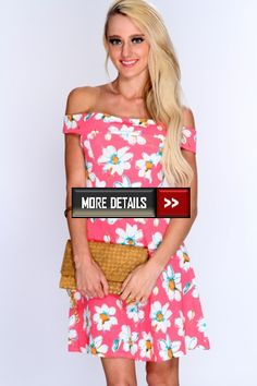 Coral Floral Print Off Shoulders Summer Dress at http://www.shopncoupon.com/stores/ami-clubwear-discount-codes/
