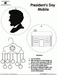 Presidents' Day Mobile Printables for Abraham Lincoln & George Washington | A to Z Teacher Stuff Printable Pages and Worksheets