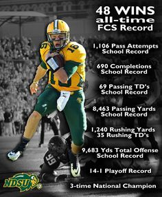 NDSU Bison- Brock Jenson - The winningest QB in FCS history, and National Champions Ndsu Bison Football, The Zone, Home Team, North Dakota, College Football, All About Time, Champion, My Love, Pride