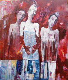 "Saatchi Art Artist RENATA KACOVA; Painting, ""FATES"" #art Acrylic Painting Canvas, Painting Art, Saatchi Art, Contemporary Art, Original Paintings, Artist, Artists, Modern Art, Contemporary Artwork"