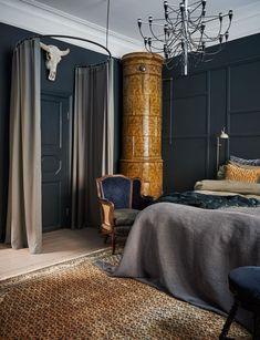sovrum mörka väggar inspiration