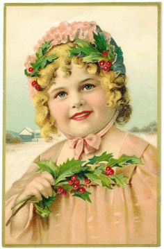 Antique Images: Free Christmas Clip Art: Antique Christmas Postcard with Girl Holding Sprig of Holly