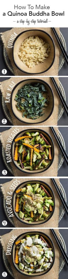 This is a quick and easy meal that can be adapted for all different tastebuds. Use whatever veggies your family enjoys in this quinoa buddha bowl recipe.