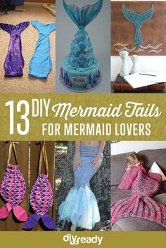 In search of DIY mermaid tails you can make? If you're fascinated with mermaids, I'm sure you'll enjoy this roundup! Let's start crafting. Mermaid Costume Kids, Mermaid Tail Costume, Homemade Mermaid Costumes, Halloween Crafts For Kids, Halloween Diy, Couple Halloween, Diy Mermaid Tail, Mermaid Room, Mermaid Theme Birthday