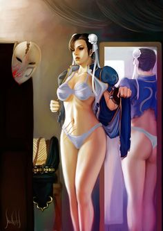 chun li by ShadCarlos.deviantart.com on @DeviantArt - More Fanart at https://pinterest.com/supergirlsart/ #chunli #chun #li #mirror #underwear #bra #panties #vega #undressing #undress #streetfighter #street #fighter #fanart #fan #art #chinese #sexy #hot #mask