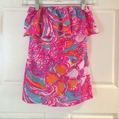 Lilly Pulitzer Wiley Tube Top Adorable Lilly Pulitzer Tube Top. Shorley Blue Feeling Tanked.  NWT Size Small Lilly Pulitzer Tops