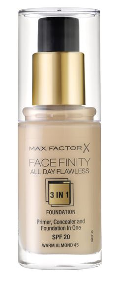 Max Factor's All Day Flawless Foundation in Bronze. Includes a primer to hold, concealer to correct and foundation to finish. Flawless Foundation, Foundation Primer, Max Factor, Factors, Concealer, Perfume Bottles, Bronze, Day