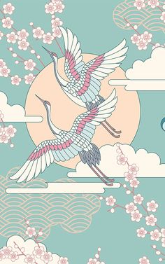 Bird and flower wallpaper murals create a beautifully floral decor in any room of the home, adding a decorative ornate style with birds wallpaper and floral details. Bird Wallpaper, Iphone Wallpaper, Wallpaper Murals, Home Bild, Design Art Nouveau, Jugendstil Design, Japon Illustration, Japanese Illustration, Japanese Art