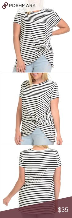 4X twist hem striped tee Made in the US. Size 4X. Your new favorite staple! Bundle two or more items & save. No trades. Offers accepted through the offer button. I follow Posh etiquette and ship 4-5 days a week. Thanks for shopping my closet and boutique! Bellino Clothing Tops Tees - Short Sleeve