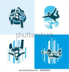 Vector illustration skydiver icons set - stock vector