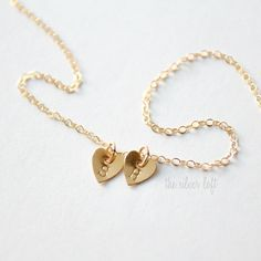 14K Tiny Hearts or Stars Necklace