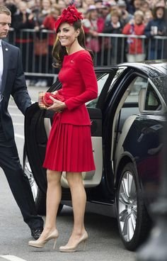 Kate Middleton Dons Red Alexander McQueen for Queen's Jubilee Celebration - Flare.com / Photo by Keystone Press