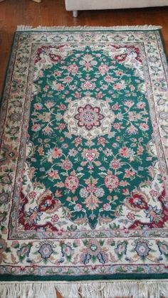 4'x 6' Hand Knotted Rug Wool Rectangle Oriental Carpet Green #Unbranded