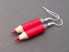 Red Colored Pencil Earrings Fun Earrings Kawaii Jewelry Cute Jewelry   BurntSugar - Jewelry on ArtFire