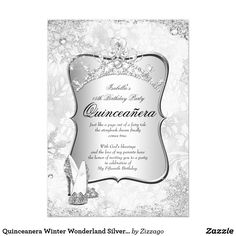 Quinceanera Winter Wonderland Silver Snowflake 2 Card Winter Wonderland Snowflakes. Princess Quinceanera 15th Birthday Party. Silver White, Floral Silver Tiara. Silver White Lace frame. Party Princess mis quince Party for women or a girl. Invitation Formal Use for any event invitation Customize to change or add details. Customize with your own details and age. Template for Sweet 16, 16th, Quinceanera 15th, 18th, 20th, 21st, 30th, 40th, 50th, 60th, 70th, 80th, 90, 100th, Fabulous product for…