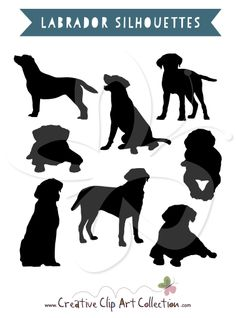 Labrador Silhouettes clip art clipart set by Creative Clip Art Collection. #clipart #labrador #labradors #silhouette #silhouettes