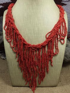 Southwestern Red Colors Multi-Strands Seedbead Necklace by JewelryPassport on Etsy