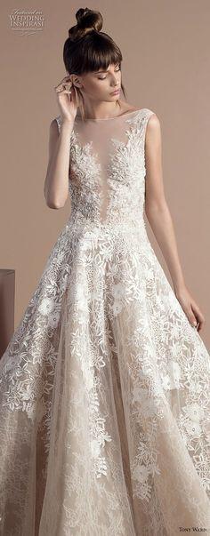 tony ward 2018 bridal sleeveless illusion bateau deep sweetheart neckline full embellishment romantic a line wedding dress (1) zv lv -- Tony Ward 2018 Wedding Dresses #weddingdress