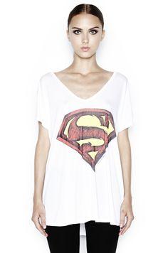 April Color Superman Oversized V-Neck Tee