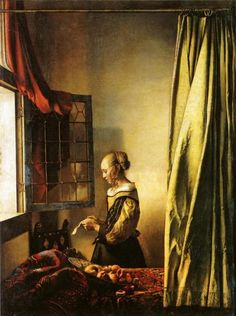 GIRL READING A LETTER AT AN OPEN WINDOW - JOHANNES VERMEER, C. 1657