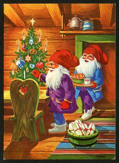 Wimo Christmas Gnome, Christmas Art, Beautiful Christmas, Winter Christmas, Winter Holidays, Christmas 2019, Santa Paintings, Christmas Paintings, Gnome Pictures