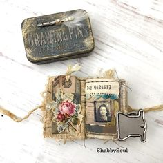 Hello everybody! I'm excited to share my newest project! For this one I've altered a Trinket Tin and made a tiny book to fit… Coin Envelopes, Handmade Envelopes, Handmade Books, Handmade Journals, Handmade Rugs, Handmade Crafts, Altered Tins, Altered Art, Altered Books