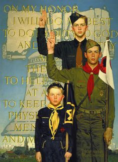 by Norman Rockwell (1894-1978). Rockwell loved the boy scouts -- from 1924 to 1974, in all but two years, Rockwell painted calendars for the Boy Scout organization.