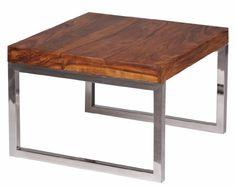 WOHNLING Beistelltisch Massiv-Holz Sheesham Wohnzimmer-Tisch mit Metallgestell Landhaus-Stil Couchtisch dunkelbraun Natur-Produkt Wohnzimmermöbel Unikat modern Massivholzmöbel Echtholz Anstelltisch
