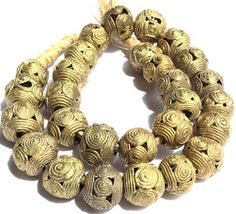 16mm+Ghana+African+lost+Wax+natural+Round+weave+Brass+beads