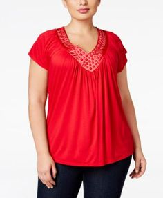 Soprano Plus Size Embellished V-Neck Top #plussizeclothing #plussizesale #macys