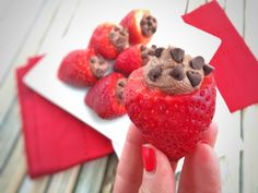 These Chocolate Mousse Filled Strawberries are low in sugar, gluten free, vegan and have only 70 calories per serving! A perfect dessert for any occasion. via @LaurenPincusRD