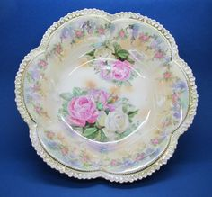 RS PRUSSIA Ruffled Edge Bowl with Pink and White Roses