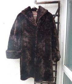 Ladies 1950s Vintage Brown Long Coat Real by Shadesofstylelondon