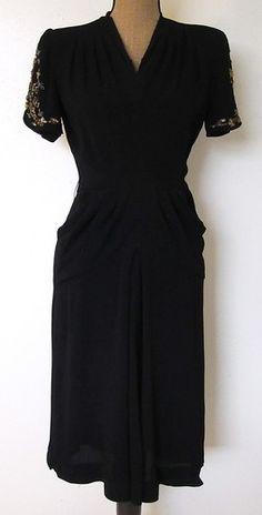 Vintage 1940s New York Creation Black w Gold Beads Sequins Dress S | eBay