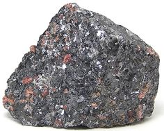 Galena with Rhodonite  Metallic ore mineral with by FenderMinerals