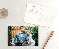 A modern nautical wedding Save the Date postcard featuring your photo on the front under large script for your save the date wording, and on the back an anchor monogram with your wedding date details underneath. Blue Save The Dates, Modern Save The Dates, Floral Save The Dates, Save The Date Photos, Save The Date Postcards, Photo Postcards, Save The Date Cards, Save The Date Wording, Save The Date Invitations