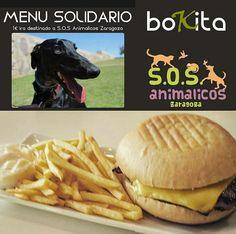 """Este es el anuncio  de una hamburguesería del Actur llamado """"Bokita"""" y como se puede ver es claramente marketing causal, ya que consumiendo su menú solidario, destinarán 1€ de ese menú a S.O.S Animalicos Zaragoza, que es una protectora de animales."""