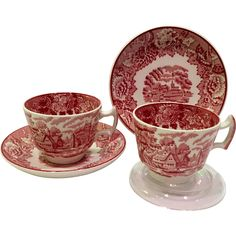 Here is a set of two English Scenery Pink Transfer Ware Demitasse Cups and Saucers by Wood  Sons, England.  The English Scenery pattern is a detailed