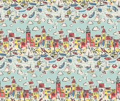 The Vintage Collection Mid Century St Tropez Aqua Wallpaper
