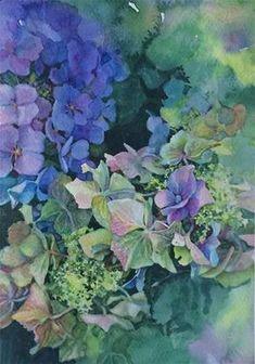 "Daily Paintworks - ""2016/e: Hydrangea Mists"" - Original Fine Art for Sale - © Nicoletta Baumeister"
