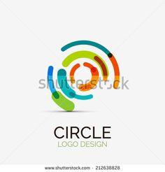 Vector icon, hi-tech circle company logo design, business symbol concept, minimal line style - stock vector