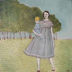 mother and child (i've forgotten their names) | older oil on canvas 10 inch square