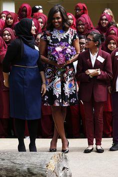 Michelle Obama wears a printed Mary Katrantzou on her European tour